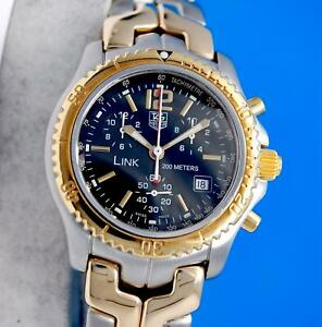 Men's Tag Heuer Link 18K Gold & SS Chronograph Watch - Black Dial - CT1152