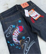 MENS EVISU JEANS Embroidered Carp denim calico blue sizes 28-33 and 36 inches