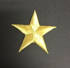 """2&1/2"""" METALLIC GOLD STAR IRON ON APPLIQUES LOT OF 12"""