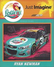 "2016 RYAN NEWMAN ""FLORIDA LOTTERY DAYTONA RCR"" #31 NASCAR SPRINT CUP POSTCARD"