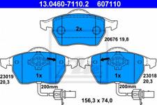 Bremsbelagsatz, Scheibenbremse für Bremsanlage Vorderachse ATE 13.0460-7110.2