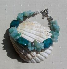 "Chrysocolla & Pale Green Amazonite Crystal Gemstone Bracelet ""Wahdj"""