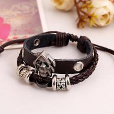 New Fashion Men's Punk Skull Braided Leather Handmade Bracelet Jewelry Gift