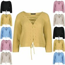 New Womens Knitted Plunge V Neck Chunky Cable Jumper Lace Up Sweater Crop Top