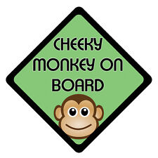 CHEEKY MONKEY ON BOARD Baby, Kid, Child, Vehicle Warning Safety Sticker Car Sign