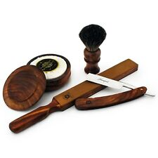 CLASSIC OLD WOOD CUT THROAT STRAIGHT RAZOR SHAVING GIFT SET SOAP BADGER BRUSH