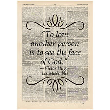 To love another person Dictionary Art Print Book Victor Hugo Les Miserables