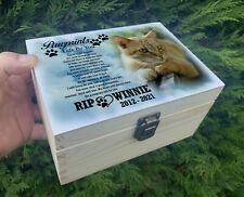 Wooden urn, Memory box, Urn for pet Cat, Feline, Fur baby, Personalised design.