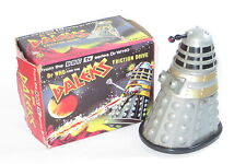 """vintage 1965 Marx Friction Drive Dalek 4.5"""" Dr Who grey/silver plastic toy boxed"""