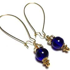 Long Gold Earring Blue Glass Bead Drop Dangle Hoop Pierced Ears