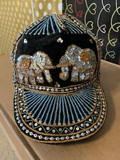 Blue-Yellow Line # 2 Baseball Cap NWOT Sequin Thai ELEPHANT Embroidered Hat