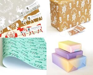Recycled Wrapping Paper Sheet 50x70cm Choice of Prints, Recyclable, plastic free