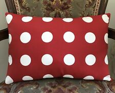 "Red And White Large Polka Dot Cotton Lumbar Bolster Cushion Cover 12"" x 17"""