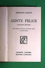 Gente felice di Hermann Kesten - 1^ Ed. Carabba Lanciano 1933