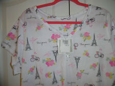 Aria Short Nightgown Lace Trim Short Sleeve White Pink Black Effel Tower 1X NWT