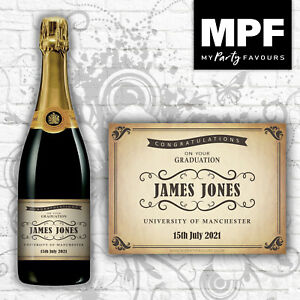 Personalised Graduation Champagne/Prosecco Bottle Label (Vintage Shabby)