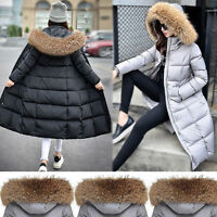 New Womens Winter Duck Down Coat Jacket long parka Outwear with Real Fur Collar