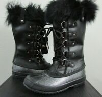 NIB Womens Sorel Joan of Arctic Lux Leather Fashion Winter Insulated Boots Black
