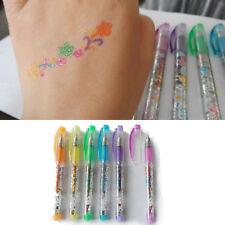 Kids Students Temporary Tattoo Gel Pens Flash Body Paint +Stencil 6pcs/Set  NEW