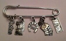 "Kilt Pin Broach Purse Visor Silver Charms "" Casino Fun "" Slot Dice Luck Handmade"