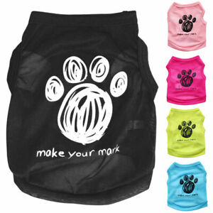 Pet Clothes Puppy Dog Cat T-Shirt Summer Cute Paw Footprint Top Breathable Vest