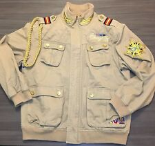 Coogi Mens Large Tan Military Rope Bomber Jacket Gold Embroidered Patches Logo