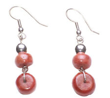 Ball Easy Hook on Metal Earrings(Zx202) Gorgeous Red Terracotta Wooden & Chrome