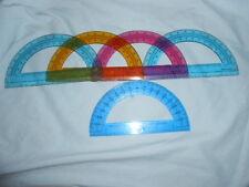 "Lot Five Vtg 1990s Clear Blue, Orange & Red Plastic Protractors - 6.0"" X 3.5"""
