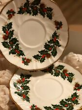 """Set Of 5- 6"""" Saucer Plates Queen's Yuletide by Rosina Made In England Fine Bone"""