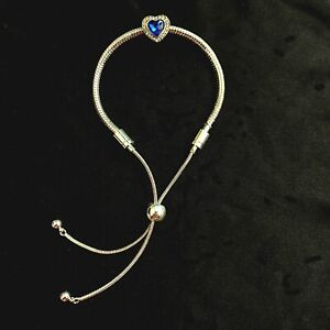 Blue Diamond Love Heart Charm Silver Bracelet