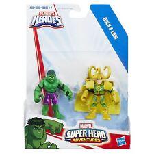 "Playskool Heroes Marvel Super Hero Adventures HULK & LOKI 2.5"" Action Figures"