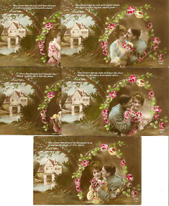 5 Love and Romance postcards. Write in 1918.