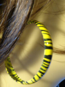 2.25 inch Hoop Earrings ZEBRA ANIMAL PRINT HOOP EARRINGS ASSORTED COLORS