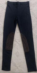 LAUREN RALPH LAUREN womens B (small) equestrian navy knit and suede leggings