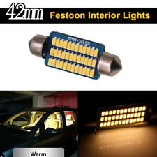 2X Warm White Canbus 42mm 3014 36SMD Festoon Led Interior Map Dome Light Bulbs