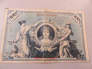 Banconota 100 Marchi Germania Reichbanknote 1908 con numerazione timbri in rosso