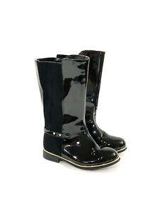 Childrens Place Toddler Girls 9 Black Tall Pu Patent Leather Boots Zipper A4