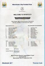 Manchester City Football Reserve Fixture Programmes (2000s)