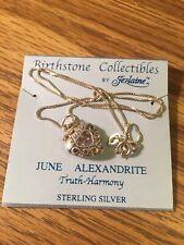 Sterling Silver Birthstone Heart Pendant On Chain - June