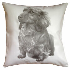 Dachshund Longhair MS Breed of Dog Themed Cotton Cushion Cover - Perfect Gift
