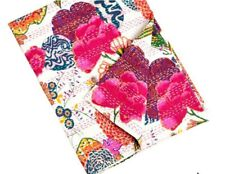 Indian Handmade Twin Kantha Throw Bedspread Floral Print Cotton Kantha Bedspread