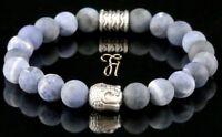 Sodalith blau matt Armband Bracelet Perlenarmband Buddhakopf silber 8mm