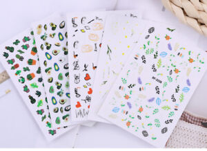 Nail Stickers Flowers /Fruit /Strips Adhesive DIY Manicure Art Decals