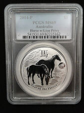 2014 1oz .999 Fine Silver Australia Lunar Year of the Horse Lion Privy PCGS MS69