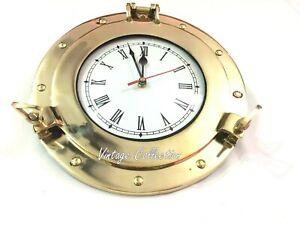 Brass Ship's Porthole Clock Nautical Maritime Beach Style Wall Clock Home Decor
