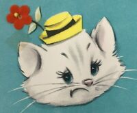 Vintage Birthday Card Cat in Hat Felt Flower Pin 1950's Hallmark