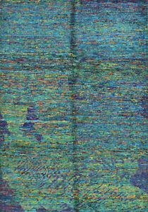Modern Abstract 6'x8' Blue Sari Silk Hand-Knotted Oriental Rug