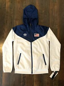 Umbro Youth USA Soccer Hooded Windbreaker Jacket Water Resistant Youth L (12-14)