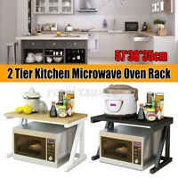 2 Tier Kitchen Shelf Microwave Oven Rack Stand Wooden Storage Cabinet Holder US