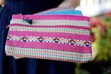 Woven Travel Pouch Mexican Artisan Bag Oaxaca Mexico Pink